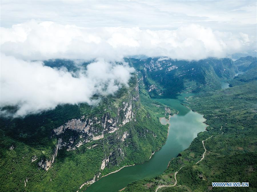 Aerial photo taken on Aug. 7, 2018 shows the scenery of Beipanjiang river valley in Zhenfeng County, southwest China\'s Guizhou Province. (Xinhua/Tao Liang)