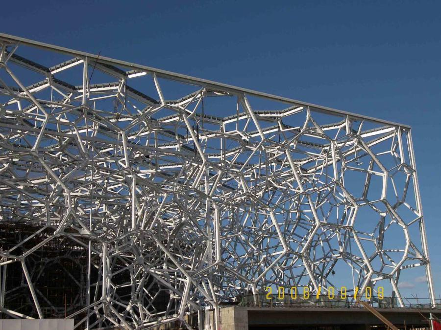 The steel structure takes shape in 2006. (Courtesy of Water Cube)