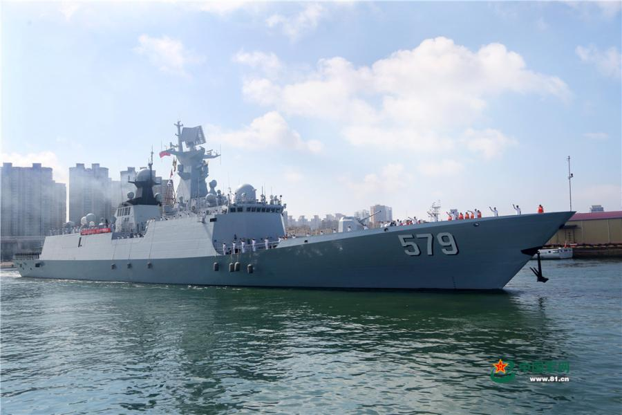 The guided-missile frigate Handan (Hull 579) of the 30th Chinese naval escort taskforce departs from a naval port in Qingdao of east China\'s Shandong Province on August 6, 2018. (Photo/81.cn)