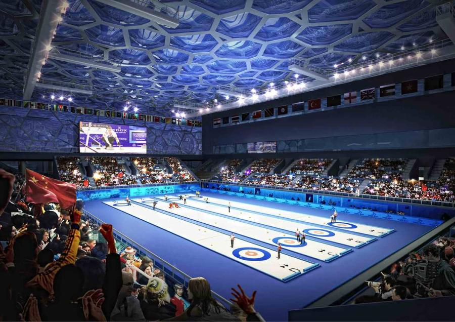 A drawing of the curling rink to be transformed from the swimming pool and continues to thrill the world in 2022. (Courtesy of Water Cube)