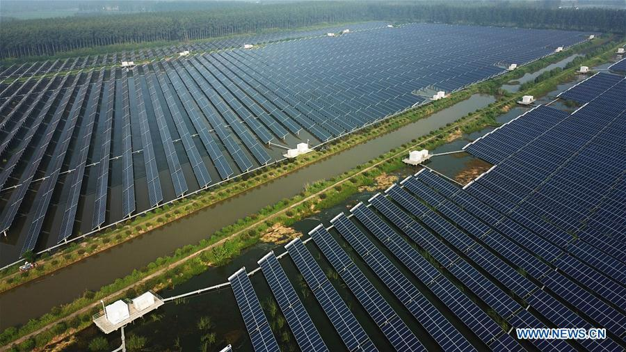 Aerial photo taken on Aug. 9, 2018 shows a photovoltaic power plant built above the fish pond in Yintu Township of Jinhu County, east China\'s Jiangsu Province. (Xinhua/Li Yuze)