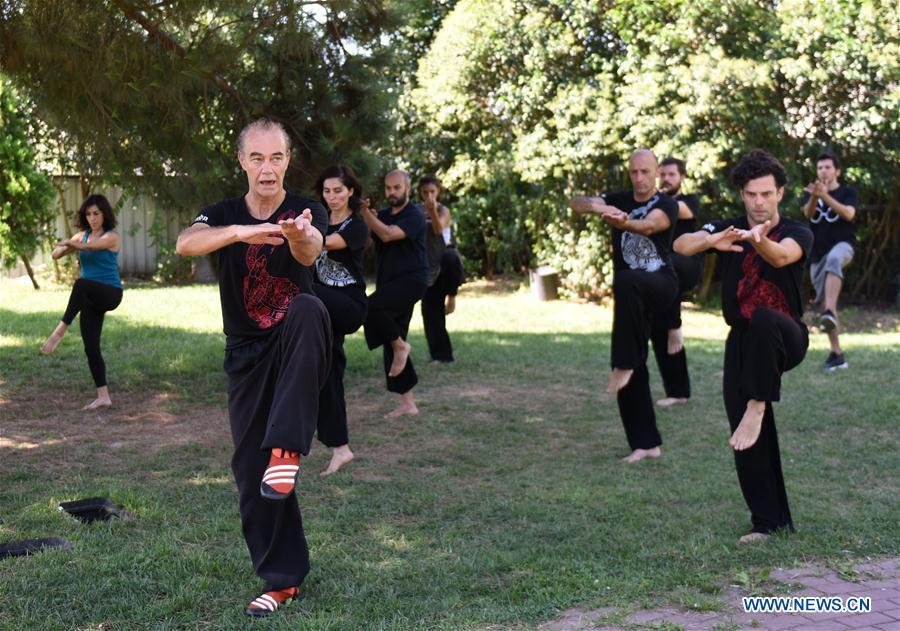 Turkish Tai Chi instructor Esat Atac (front) leads his students to practice Tai Chi, an ancient Chinese martial art, in Istanbul, Turkey, on Aug. 9, 2018. Tai Chi has recently become an appealing activity, especially for those who feel stressed out living in big cities like Istanbul, according to Mustafa Karslioglu, deputy head of the Turkish-Chinese Cultural Association. (Xinhua/He Canling)
