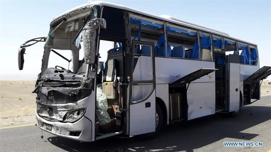 A damaged bus is seen at the site of a suicide blast in Pakistan\'s southwestern Balochistan province on Aug. 11, 2018. A suicide attack injured six people including three Chinese workers here on Saturday, the Chinese Embassy to Pakistan said. (Xinhua/Stringer)