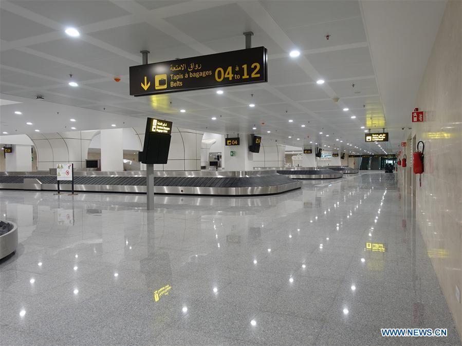 Photo taken on Aug. 10, 2018 shows the passenger baggage claim point of the new Algiers Airport in Algeria. The construction of new Algiers Airport by China State Construction Engineering Corporation (CSCEC) will be completed soon. (Xinhua)