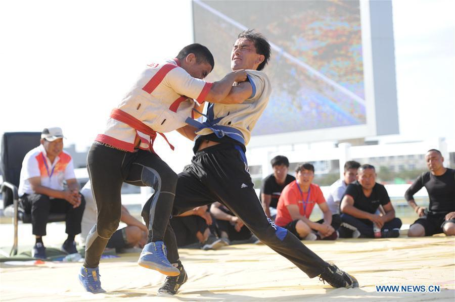Contestants take part in a wrestling competition during a folk custom tourism festival held in the Kazak Autonomous County of Mori in northwest China\'s Xinjiang Uygur Autonomous Region, Aug. 11, 2018. The two-day festival opened here on Saturday. (Xinhua/Sadat)