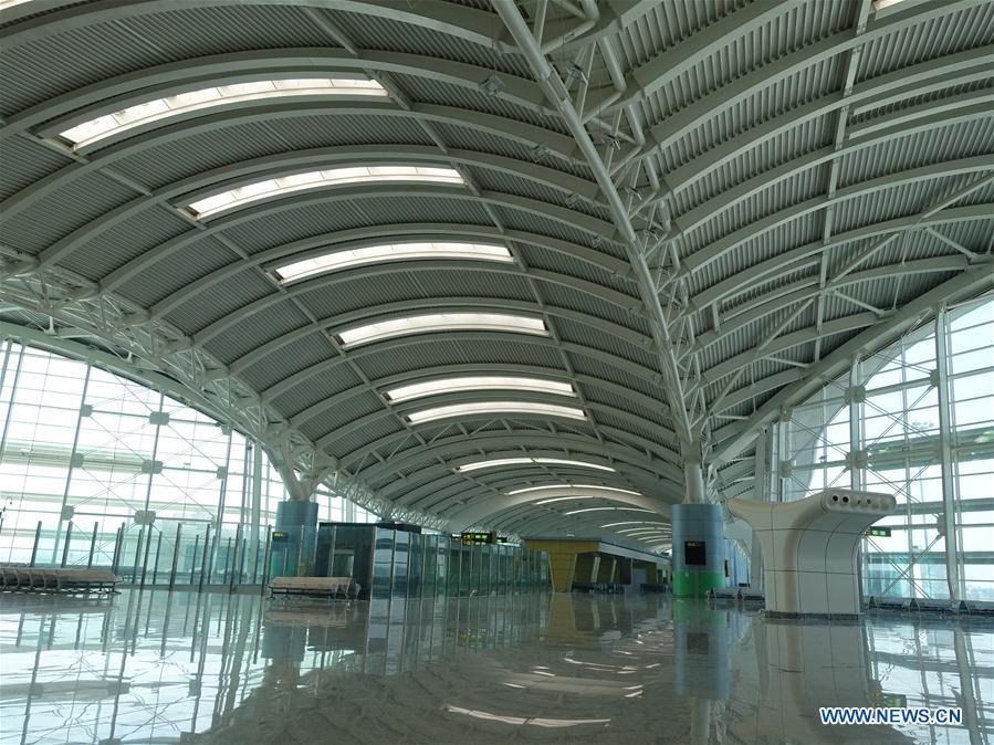 Photo taken on Aug. 10, 2018 shows the boarding waiting hall of the new Algiers Airport in Algeria. The construction of new Algiers Airport by China State Construction Engineering Corporation (CSCEC) will be completed soon. (Xinhua)