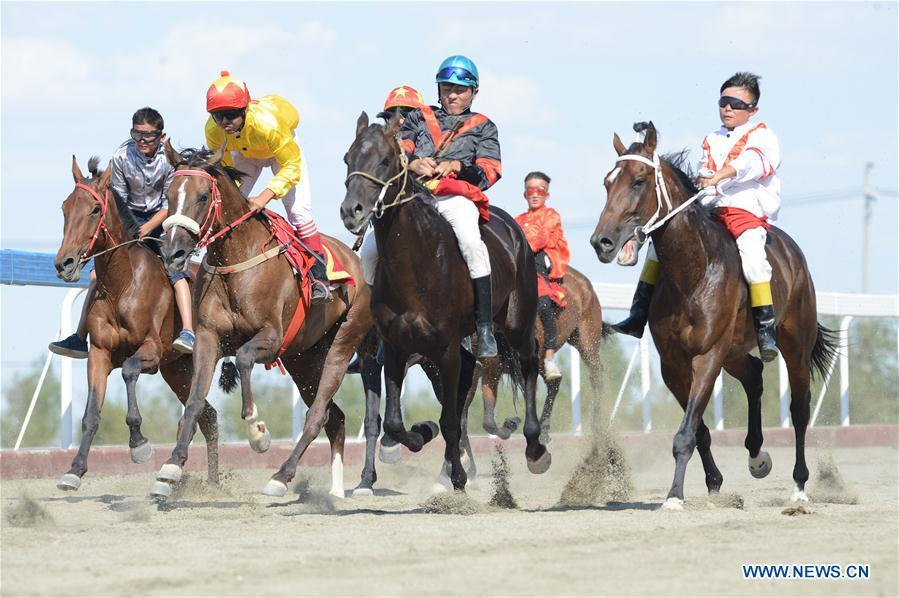 Contestants take part in a horse racing during a folk custom tourism festival held in the Kazak Autonomous County of Mori in northwest China\'s Xinjiang Uygur Autonomous Region, Aug. 11, 2018. The two-day festival opened here on Saturday. (Xinhua/Sadat)