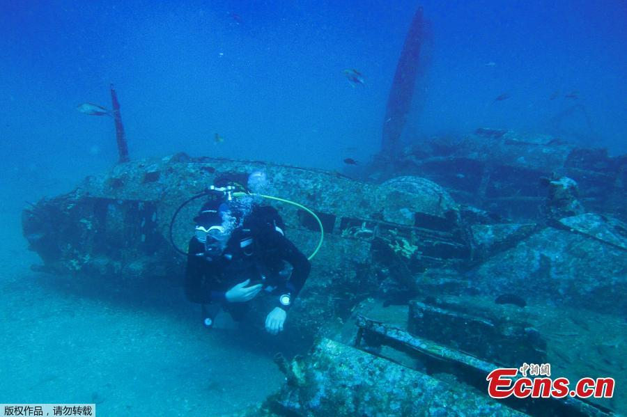 A picture taken on August 12, 2018 shows the wreckage of an American bombardier fighter plane from the Second World War, the Lockheed P-38G Lightning, at 38 meters of depth, off the coast of La Ciotat, southern France. (Photo/Agencies)