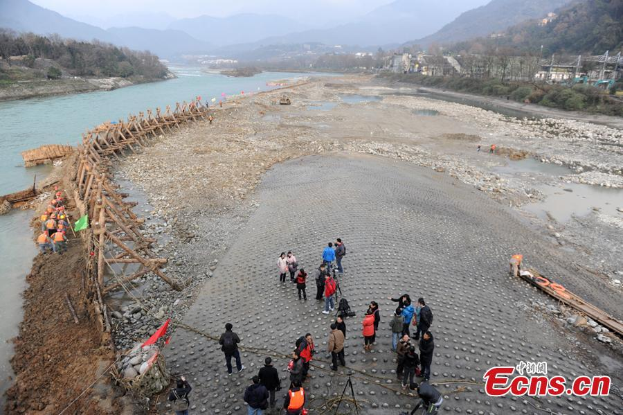 Renovation of the Dujiangyan irrigation system, major landmark in the development of water management and technology that is still discharging its functions. water conservation project in 2014. (Photo: China News Service/Zhang Lang)
