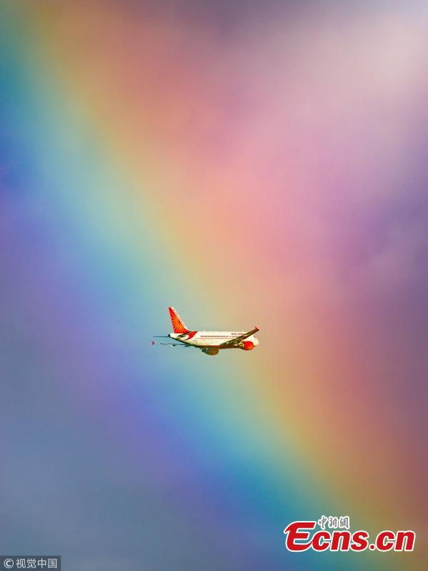 This stunning image shows a passenger plane flying straight into a rainbow. The jumbo jet breaks through the cloud and into the arc, which produces a kaleidoscope of colour. The moment was captured by photographer Tanay Das, shortly after the Indian Airlines flight took off from Netaji Subhas Chandra Bose International Airport in Kolkata, India. (Photo/VCG)