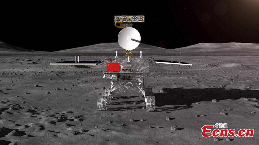 An artistic rendering of the Chang\'e-4 lander on the moon. The Chang\'e-4 lunar probe will undertake the first-ever soft landing on the far side of the moon. (Photo provided to China News Service)