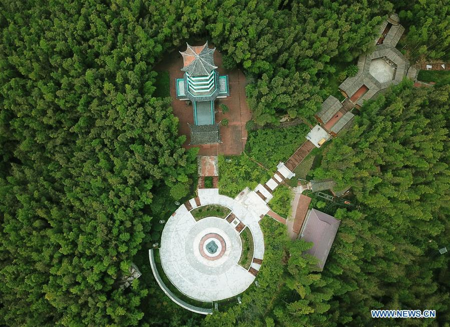 Aerial photo taken on Aug. 13, 2018 shows a view of the Zhuhai state forest park in Chishui City, southwest China\'s Guizhou Province. (Xinhua/Wang Changyu)