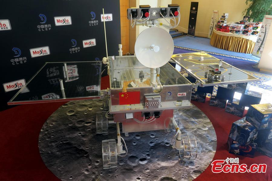 A model of the Chang\'e-4 rover on display in Beijing, Aug. 15, 2018. China kicked off a global contest to find a name for the Chang\'e-4 rover. (Photo: China News Service/Sun Zifa)
