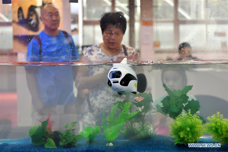 Visitors look at a bionic underwater photographic robot at World Robot Conference 2018 in Beijing, capital of China, Aug. 15, 2018. Kicking off on Wednesday, the conference attracted more than 160 domestic and international corporations exhibiting their cutting-edge products in the robotics industry. (Xinhua/Li Xin)