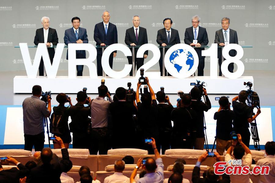 The World Robot Conference 2018 kicks off in Beijing, Aug. 15, 2018. The conference included a competitive section, which attracted contestants from 16 countries and regions. (Photo: China News Service/Fu Tian)