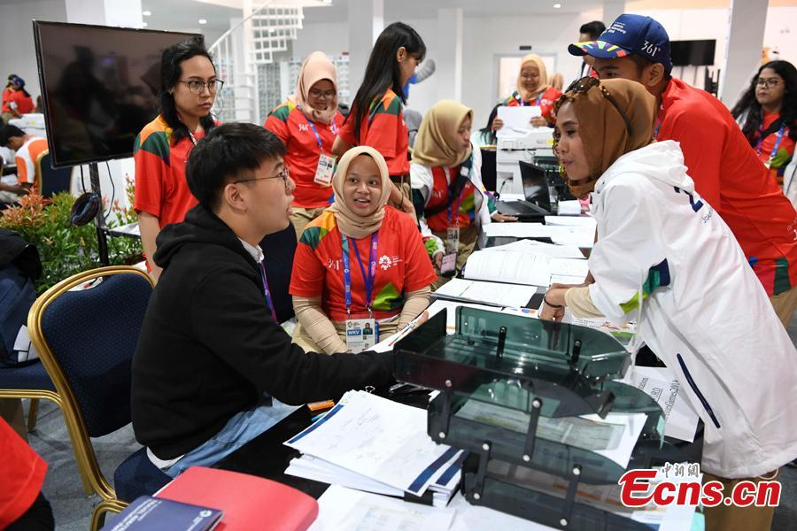 A view of the press center for the 2018 Asian Games in Palembang, Indonesia, Aug. 15, 2018. A total of 11,300 athletes from 45 National Olympic Committees will compete in the Asian Games set to be played from August 18 to September 2, according to the latest data from the Olympic Council of Asia. (Photo: China News Service/Wang Dongming)