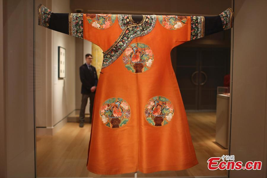 Photo taken on Aug. 16, 2018 shows the Empresses of China\'s Forbidden City Exhibition at the Peabody Essex Museum in Boston, the United States. This exhibition is the first to explore the role of empresses in shaping China's last dynasty -- the Qing -- from 1644 to 1911. Nearly 200 spectacular objects from the Palace Museum tell the little-known stories of how imperial women influenced court politics, art and religion. (Photo: China News Service/Liao Pan)