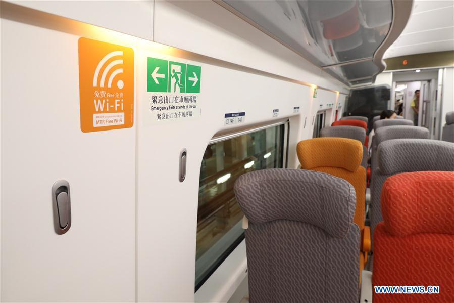 Photo taken on Aug. 16, 2018 shows the interior of a train of the Guangzhou-Shenzhen-Hong Kong Express Rail Link (XRL), in Hong Kong, south China. The trial run of the Hong Kong Section of XRL has been completed on Thursday. The 26-km Hong Kong section of the XRL links up Hong Kong with the mega high-speed rail network of the Chinese mainland. (Xinhua/Lui Siu Wai)