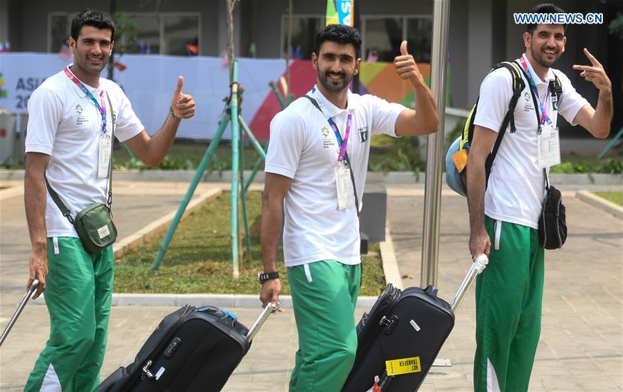 Members of Pakistani delegation arrive at the Asian Games Village ahead of the 18th Asian Games in Jakarta, Indonesia, on Aug. 17, 2018. August 18 will witness the opening ceremony of the 18th Asian Games in Jakarta, Indonesia. (Xinhua/Huang Zongzhi)