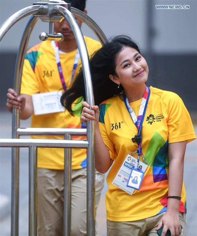 Volunteers work at the Asian Games Village ahead of the 18th Asian Games in Jakarta, Indonesia, on Aug. 17, 2018. August 18 will witness the opening ceremony of the 18th Asian Games in Jakarta, Indonesia. (Xinhua/Huang Zongzhi)