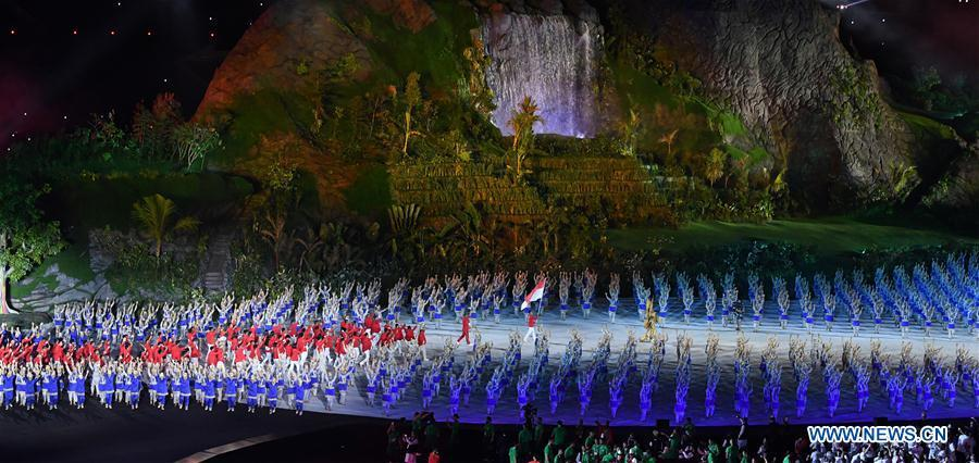 The opening ceremony of the 18th Asian Games is held at Gelora Bung Karno (GBK) Main Stadium in Jakarta, Indonesia, Aug. 18, 2018.(Xinhua/Li He)