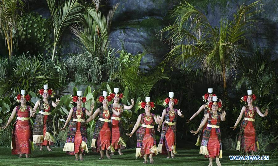 Dancers perform during the opening ceremony of the 18th Asian Games in Jakarta, Indonesia, Aug. 18, 2018.(Xinhua/Yue Yuewei)
