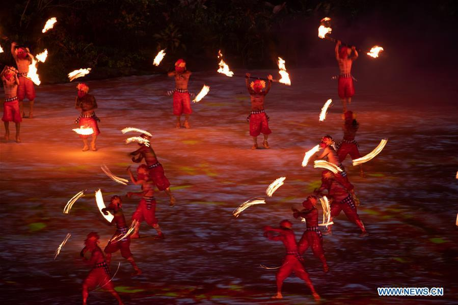 Dancers perform during the opening ceremony of the 18th Asian Games at Gelora Bung Karno (GBK) Main Stadium in Jakarta, Indonesia, Aug. 18, 2018.(Xinhua/Cheong Kam Ka)
