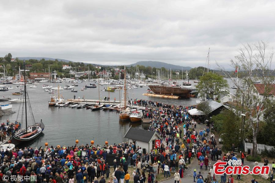 The hulk of polar explorer ship named Maud, arrives at her final resting place at Vollen, Norway, the place where she was built, Aug. 18, 2018, the culmination of project \