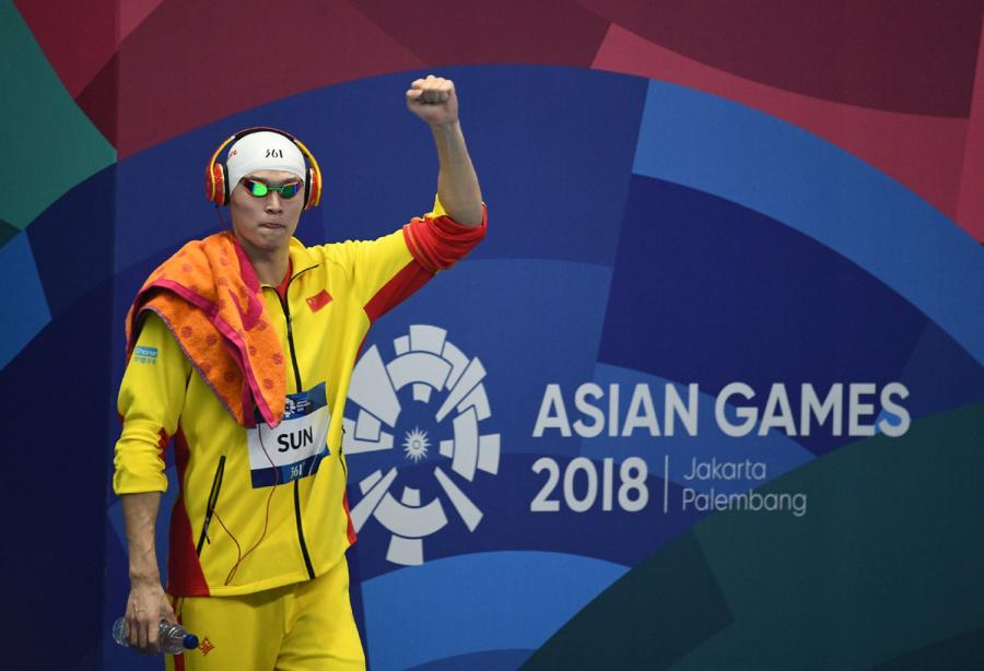 Sun Yang of China prepares to participate in men\'s 200m freestyle final at the GBK Aquatics Center in Jakarta, Indonesia on Aug. 19, 2018. (Photo/Xinhua)