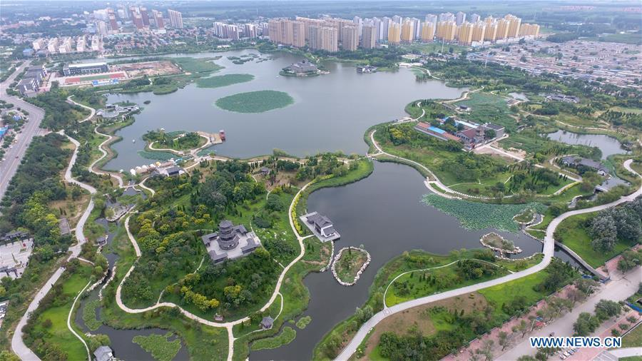 Aerial photo taken on Aug. 19, 2018 shows Yingzhou Park in Hejian City, north China\'s Hebei Province. Yingzhou Park, transformed from an abandoned sump, has become an ecological park covering 51 hectares of green space and 44 hectares of water area. (Xinhua/Zhu Xudong)