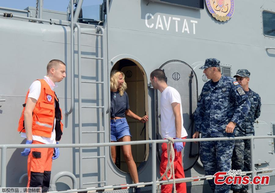 British tourist Kay Longstaff leaves the Croatian Coast Guard vessel \