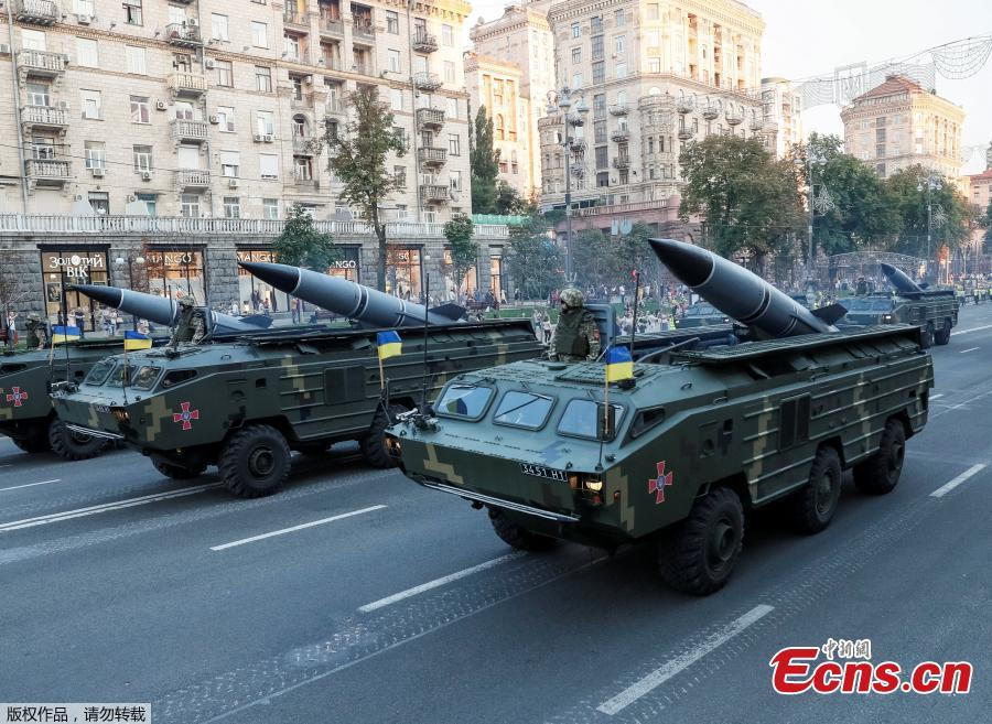Ukrainian OTR-21 Tochka-U mobile missile launch systems drive during a rehearsal for the Independence Day military parade in central Kiev, Ukraine August 20, 2018. (Photo/Agencies)