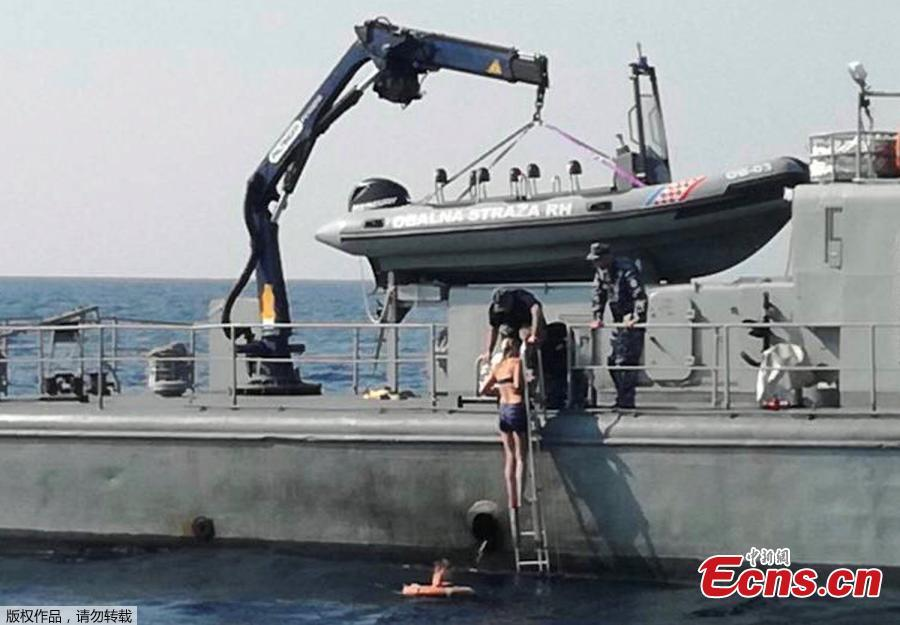 A British woman is rescued from the Adriatic sea by the Croatian Coast Guard vessel \