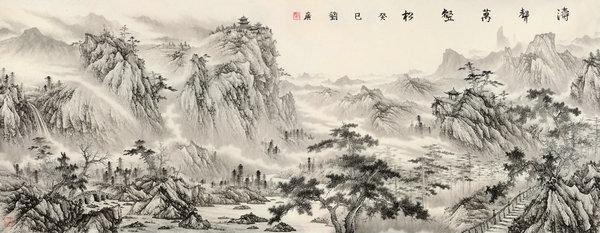 Liu Guang's paintings are now shown at a solo exhibition, titled The Sound of Mountains and Waters, at the Poly Art Museum in Beijing. (Photo provided by chinadaily.com.cn)