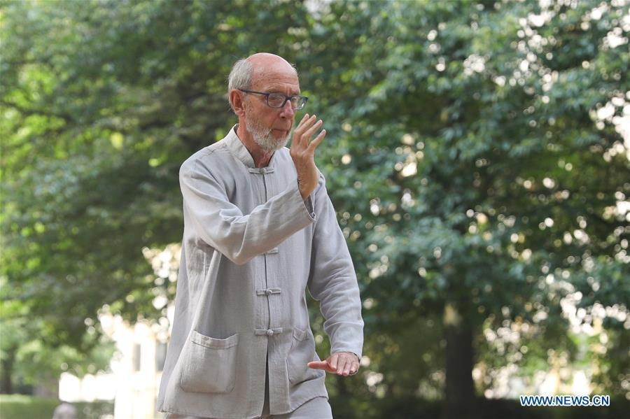 A man learns Tai Chi at the Cinquantenaire park in Brussels, Belgium, Aug. 21, 2018. Every Tuesday and Friday afternoon, free Chinese Tai Chi class is held here and it attracts many local residents in Brussels. (Xinhua/Zheng Huansong)