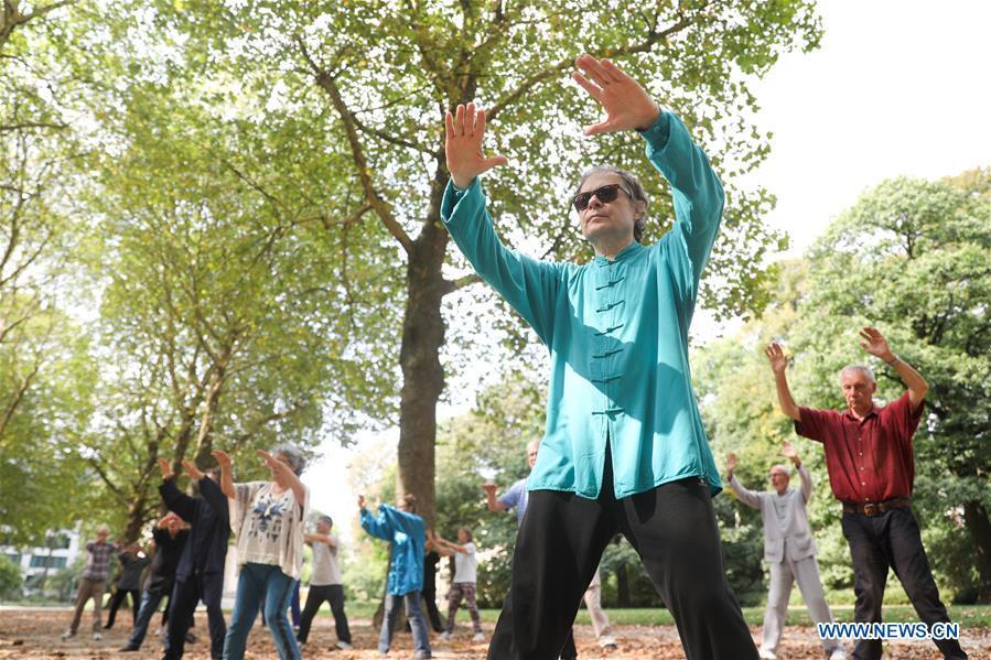 People learn Tai Chi at the Cinquantenaire park in Brussels, Belgium, Aug. 21, 2018. Every Tuesday and Friday afternoon, free Chinese Tai Chi class is held here and it attracts many local residents in Brussels. (Xinhua/Zheng Huansong)