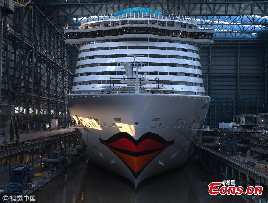 The \'AIDAnova\' cruise ship in the Meyer Werft shipyards on August 21, 2018 in Papenburg, Germany. The newly-completed 184,000-tonne ship, which is 337 meters long and can accommodate 6,600 passengers, cast and crew. AIDAnova is the World\'s first liquefied natural gas (LNG)-Powered Cruise Ship. (Photo/Agencies)