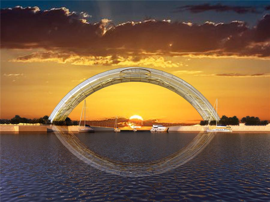 Artist\'s impressions of the Eye of the Yellow Sea, China\'s first all-steel glass arch bridge that is under construction in Rizhao, Shandong Province. The arch bridge spans about 177 meters and is expected to be completed in 2019. (Photo provided to chinadaily.com.cn)