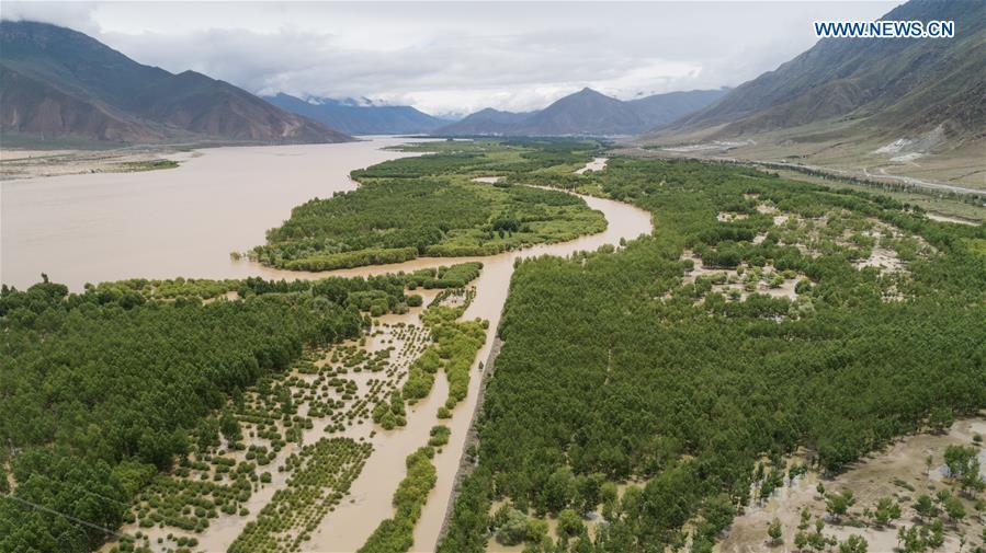 Aerial photo taken on July 23, 2018 shows a shelterbelt forest along Yarlung Zangbo River in Naidong District of Shannan, southwest China\'s Tibet Autonomous Region. Over the past four decades, the Shannan people have made achievements in desert control by building a 1.8-kilometer-wide \