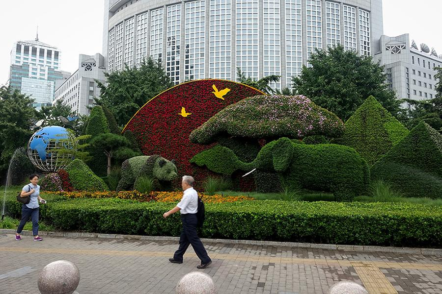 Photo taken on Aug. 22, 2018 shows a flower parterre in Beijing. Beijing is currently being decorated to welcome the upcoming 2018 Beijing Summit of the Forum on China-Africa Cooperation (FOCAC), which will be held on September 3-4. (Photo/People\'s Daily Online)