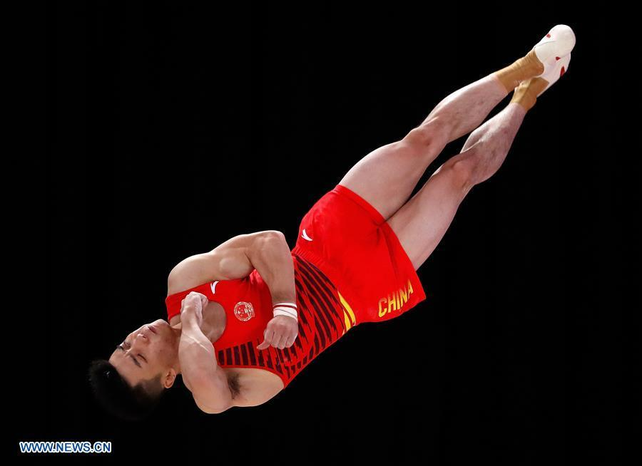 Lin Chaopan of China competes during the Artistic Gymnastics Men\'s Floor Exercise Final at the Asian Games 2018 in Jakarta, Indonesia on Aug. 23, 2018. (Xinhua/Wang Lili)