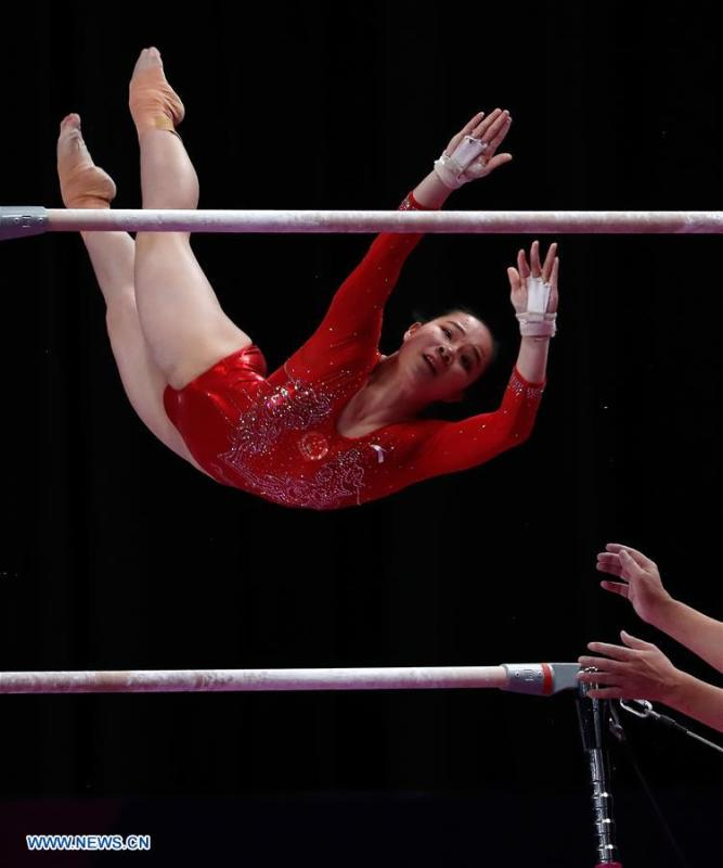 Luo Huan of China competes during the Artistic Gymnastics Women\'s Uneven Bars Final at the Asian Games 2018 in Jakarta, Indonesia on Aug. 23, 2018. (Xinhua/Wang Lili)