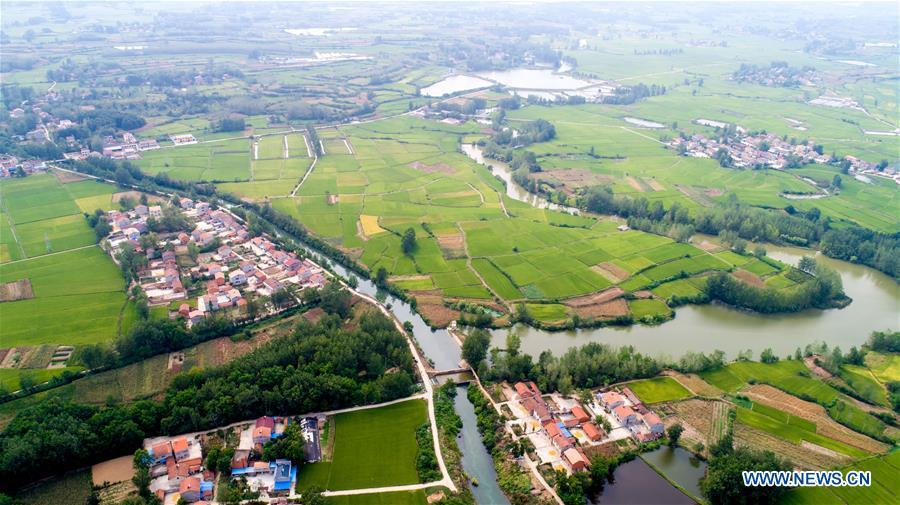 Aerial photo taken on Aug. 22, 2018 shows a section of Changqu Canal in Xiangyang, central China\'s Hubei Province. The Changqu Canal has been added to the World Heritage Irrigation Structures list by the International Commission on Irrigation and Drainage (ICID) recently. (Xinhua/Xiong Qi)