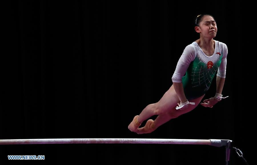 Liu Tingting of China competes during the Artistic Gymnastics Women\'s Uneven Bars Final at the Asian Games 2018 in Jakarta, Indonesia on Aug. 23, 2018. (Xinhua/Zhu Wei)