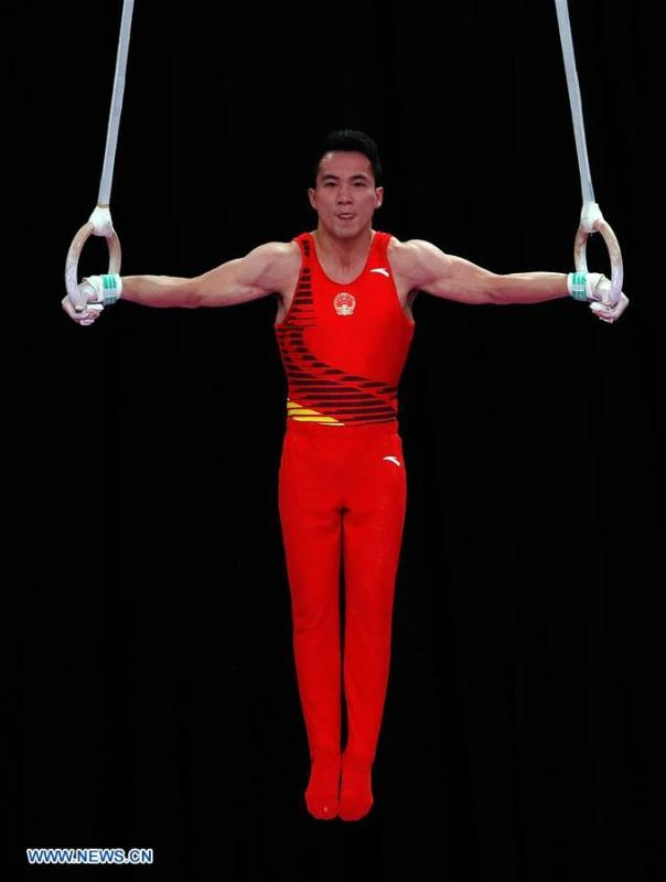 Deng Shudi of China competes during the Artistic Gymnastics Men\'s Rings Final at the Asian Games 2018 in Jakarta, Indonesia on Aug. 23, 2018. (Xinhua/Wang Lili)