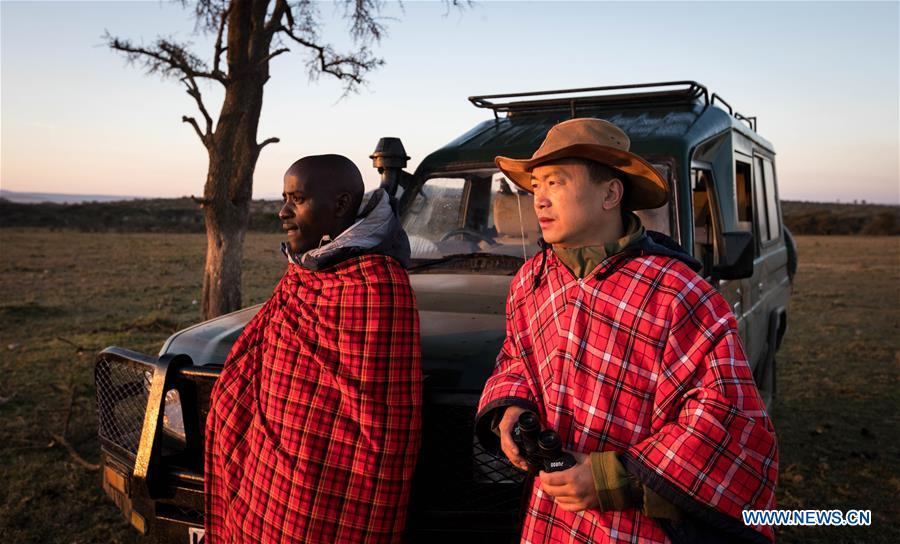 Chinese wildlife conservationist Zhuo Qiang and a local warden check the Ol Kinyei conservancy in Maasai Mara, Kenya, July 7, 2018. The founder and Chairman of Mara Conservation Fund (MCF) Zhuo Qiang, a 45-year-old Chinese, has pioneered outstanding wildlife conservation projects in the world famous Maasai Mara ecosystem. Ol Kinyei is among the conservancies benefiting from his activities. Around it, he has built three lion proof boas preventing the wildlife conflict with the adjacent communities. He was officially adopted as a son of the Maasai\'s Ol Kinyei conservation group in 2015, owing to his unwavering friendship with the pastoralists. Zhuo\'s anti-poaching drives in the East African nation expresses the increasing collaboration between Kenyan and China in ending the killing of rhinos, elephants and lions. (Xinhua/Lyu Shuai)