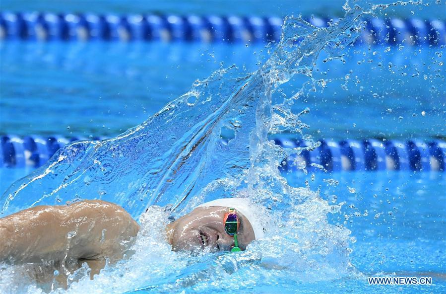 Sun Yang of China competes during men\'s 1500m freestyle final of swimming at the 18th Asian Games in Jakarta, Indonesia, Aug. 24, 2018. Sun won the gold medal. (Xinhua/Yue Yuewei)