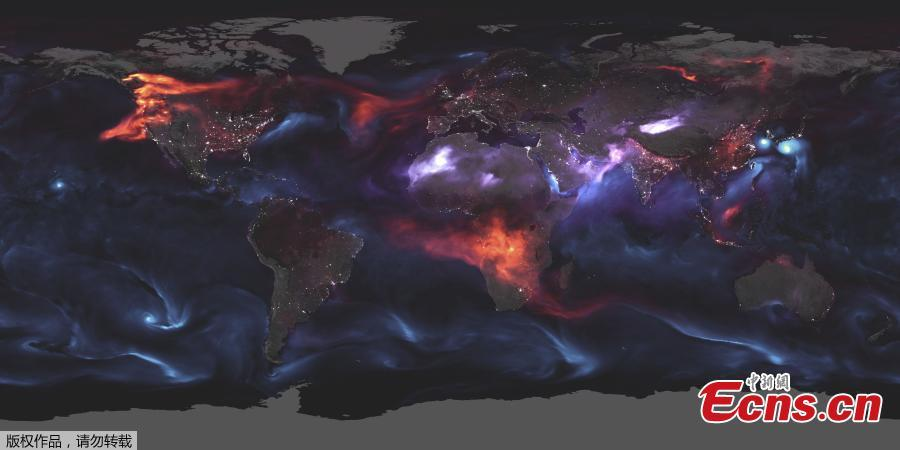 This NASA satellite visualization obtained August 26, 2018, highlights Goddard Earth Observing System Forward Processing (GEOS FP), offering an expansive view of the mishmash of particles that dance and swirl through the atmosphere, of output for aerosols on August 23, 2018.