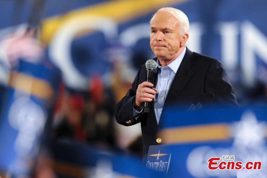 File photo taken in Nov. 2008 shows senator John McCain speaks at a campaign rally for US presidential election. John McCain, a former prisoner of war in Vietnam who ran for president in 2008 as a maverick Republican and became a prominent critic of President Donald Trump, died on Saturday. He was 81. (Photo: China News Service/Zhang Wei)