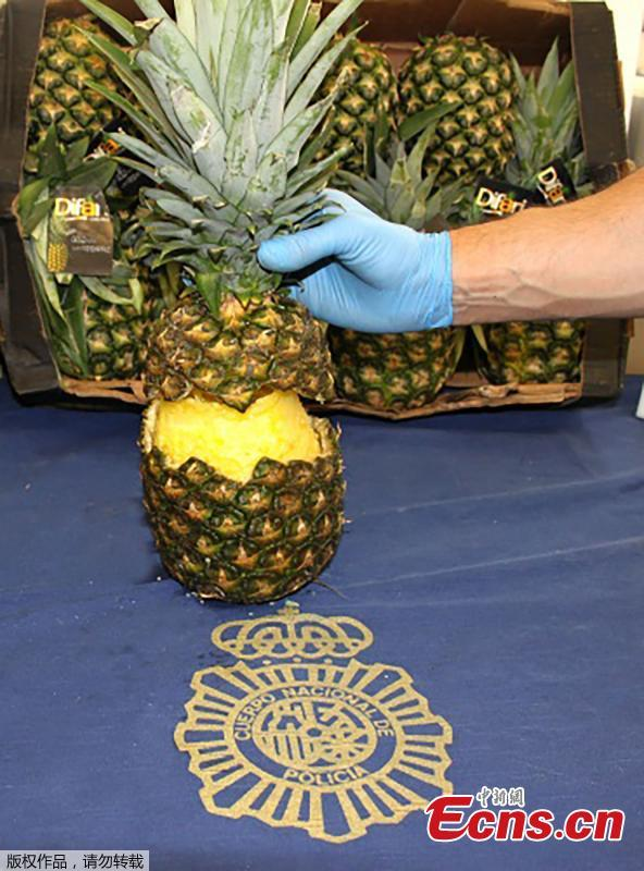 Spanish police have seized 67 kilograms (148 pounds) of cocaine found inside hollowed-out pineapples discovered at Madrid\'s main fruit and vegetable market. Dozens of drug-stuffed fruits were seized at the sprawling Mercamadrid market among a shipment of pineapples that arrived in the Portuguese port of Setubal by ship from Costa Rica. The fruits, believed to have a street value of almost ?250,000, are said to have then been transported overland to the Spanish capital. (Photo/Agencies)